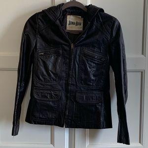 Vntg Niemans Brown Leather Riders Hooded Jacket